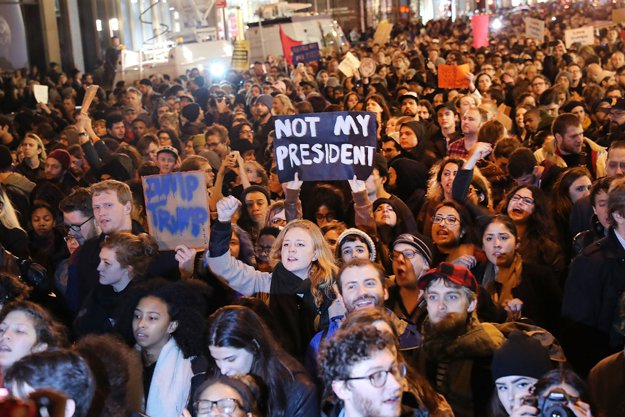 Protests in USA Against Donald Trump as President 1
