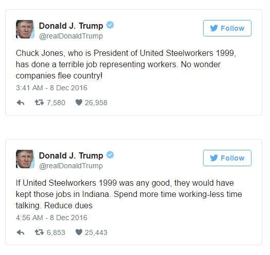 Donald Trump Insults a Union Leader On Twitter 2