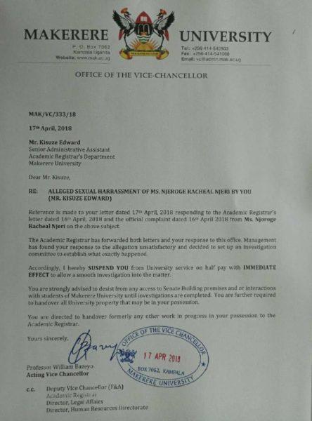 Makerere letter of suspension for the lecturer - Spur Magazine