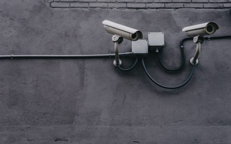 Security cameras on a wall.